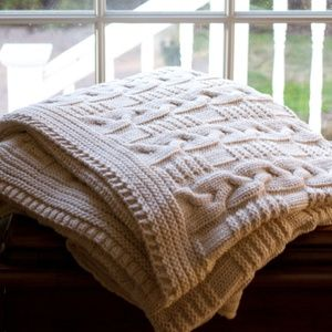 Cotton Chunky Braided Cable Knit Throw Blanket